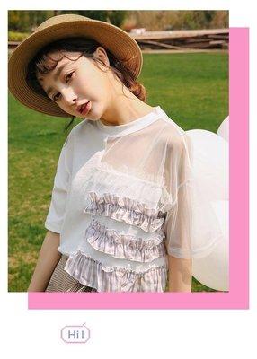 全新 韓國東大門款 性感露半博網面褸空白色短袖t恤上衣 修身衫 女裝型格tee清貨(B)