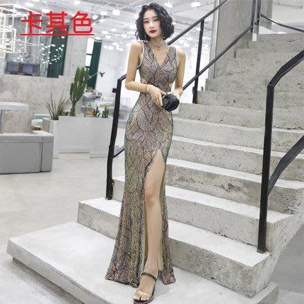 妞妞 婚紗禮服~性感亮片開衩魚尾修身顯瘦長禮服~3件免郵