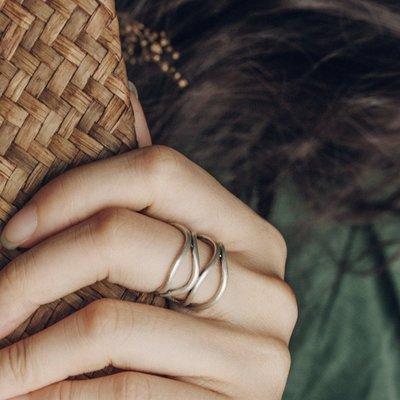 YouDo wh 原創小眾設計多層纏繞寬版銀戒指男開口可調節個性食指銀戒指