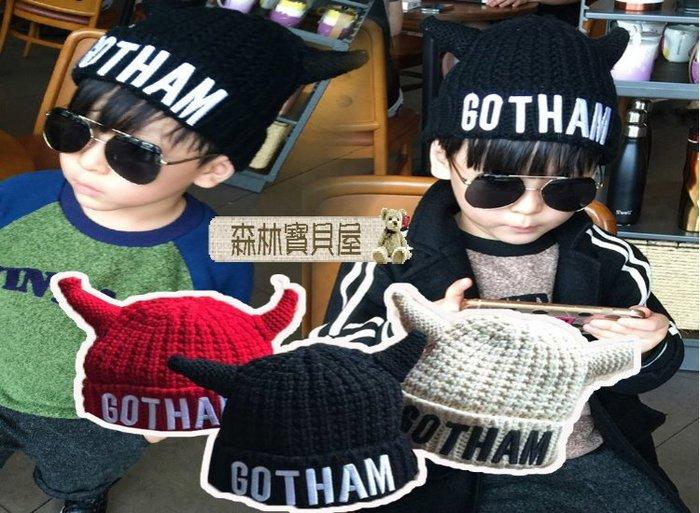 森林寶貝屋~韓款~雙層加厚字母牛角毛線針織帽~幼兒加絨加厚造型帽~兒童冬季保暖帽~牛角帽~毛線帽~外出拍照~5色發售