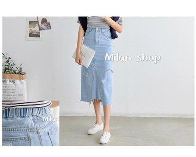 ☆Milan Shop☆網路最低價 正韓Korea獨家款Best極美小割破彈性腰丹寧A字牛仔裙S~L$890(免運)