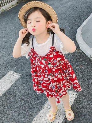 女童碎花假兩件吊帶洋裝兒童公主裙寶寶短袖女孩裙