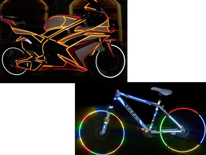 【幸福2次方】汽車機車自行車用 腳踏車車身反光防水貼 夜間標識反光貼紙 一捲8米 - 多色可選