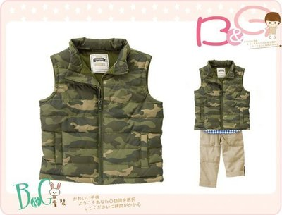 【B& G童裝】正品美國進口GYMBOREECamo Puffer Vest迷彩綠內軟刷毛背心外套12-24m,2-3y
