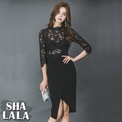 SHA LA LA 莎菈菈 韓版修身性感透膚蕾絲七分袖包臀連衣裙洋裝(S~XL)2019030117預購款