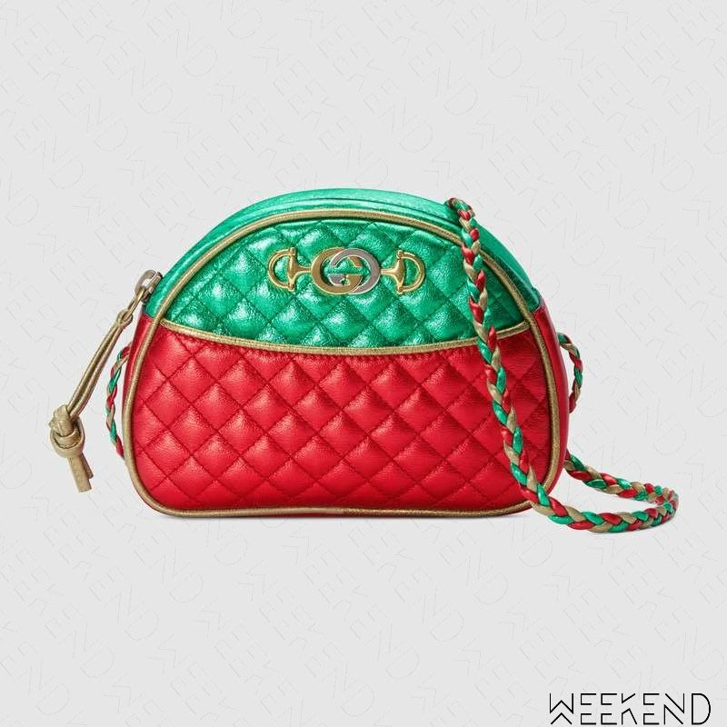 【WEEKEND】 GUCCI Laminated Mini 迷你 壓紋 皮革 肩背包 綠+紅色 534951