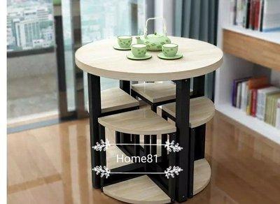 Home81 收納式圓桌連四椅 桌連櫈 dinning table with seats 餐桌連四椅子包送貨