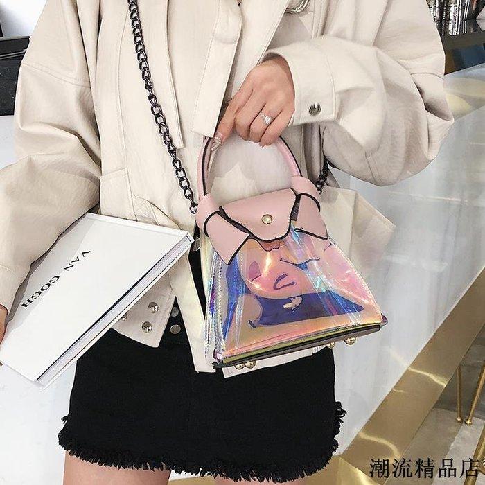 小包包女新款時尚透明鐳射手提水桶包韓版百搭單肩斜挎果凍包