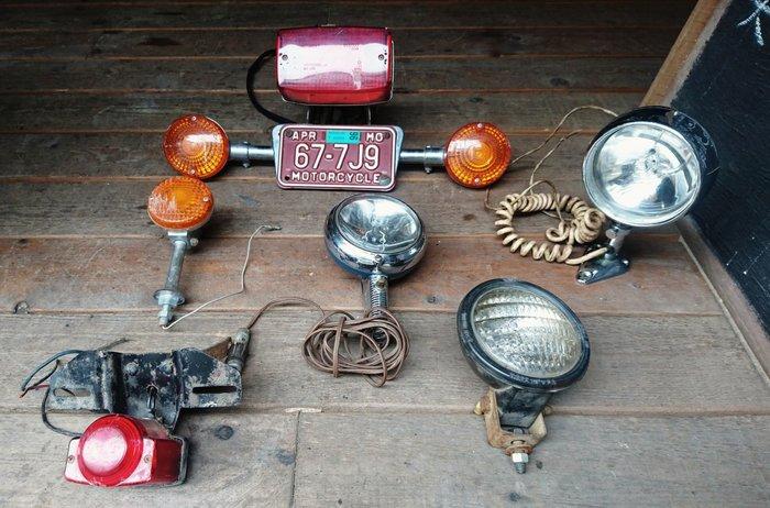 Vintage Americana。復古事 古董 機車 尾燈 頭燈 改裝 摩托車尾燈 復古