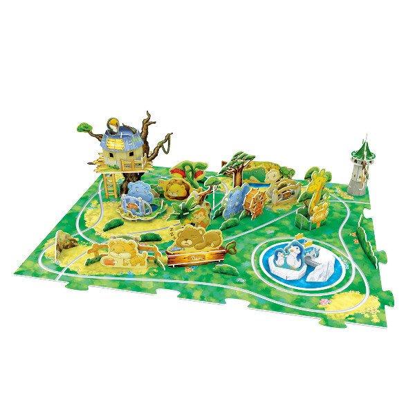 佳廷家庭 親子DIY紙模型立體勞作3D立體拼圖專賣店 可動式歡樂野生動物園賽車遊戲組 樂立方K1001