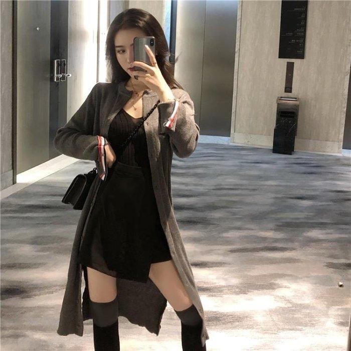 秋裝女2018新款中長款韓版chic圓領毛衣外套針織衫長袖針織開衫潮