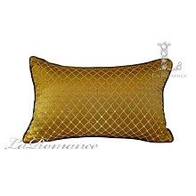 【芮洛蔓 La Romance】古典風情系列金色立體菱格紋腰枕 / 靠枕 / 靠墊 / 方枕