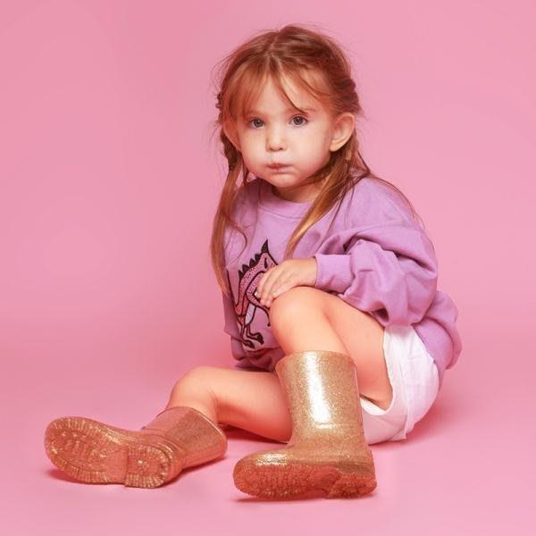 春季上新 格利特兒童雨鞋男童女童寶寶膠鞋金色時尚可愛萌寶雨靴防滑水鞋