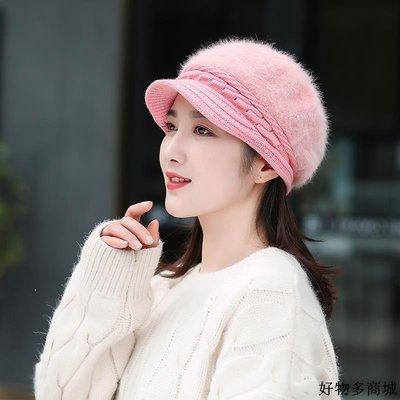 冬天帽子 保暖 毛線帽  秋冬季時尚韓版兔毛帽女士貝雷帽奶奶保暖針織加絨毛線媽媽帽子女
