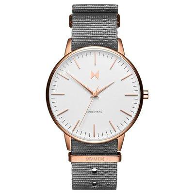 美國 MVMT 官網代購 BOULEVARD MCKINLEY基本款女錶白底玫瑰金錶框尼龍錶帶 38mm DWCluse