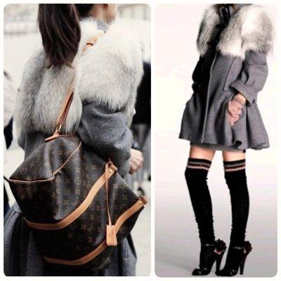 LV 羊毛 狐狸毛 披肩斗篷 大衣 Louis Vuitton