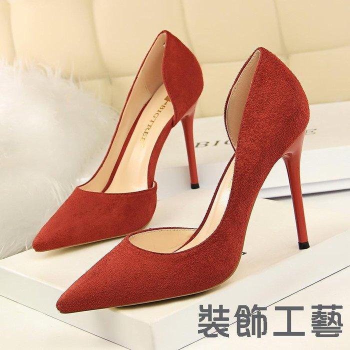 8918-2簡約細跟超高跟絨面淺口尖頭性感夜店顯瘦側鏤空單鞋