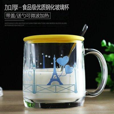 聚吉小屋 #樂美雅帶把鋼化玻璃水杯茶杯變色杯帶蓋勺微波牛奶杯早餐杯馬克杯