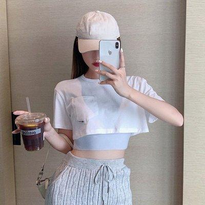 套裝2020女夏新款短款T恤休閑露臍短袖上衣緊身運動小背心兩件套