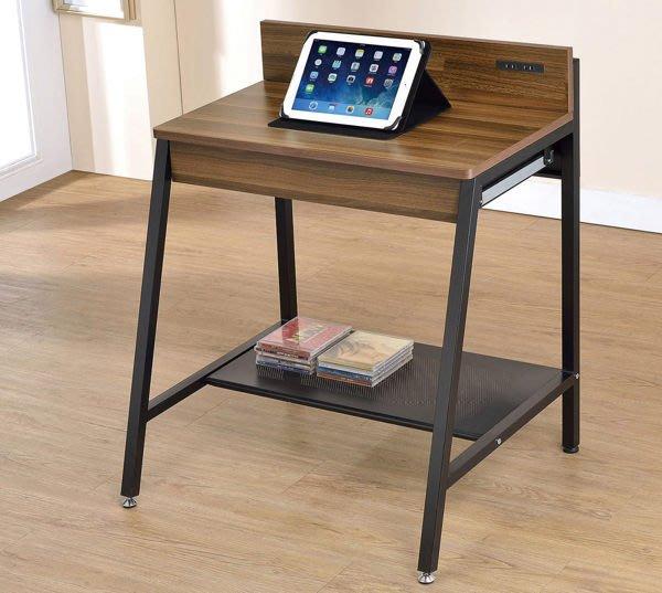 【DH】商品貨號N882-1商品名稱《賈林》2.1尺胡桃兩用電腦桌。附PSE  AC雙插座X2組。主要地區免運費
