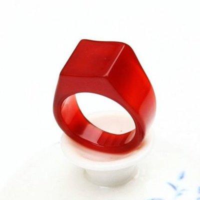 紅瑪瑙戒指水晶玉髓扳指南紅玉石戒指情侶指環男女玉珠寶飾品