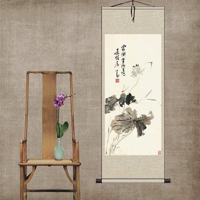荷花蜻蜓絲綢國畫捲軸掛畫家居裝飾古色古香送禮送老外客戶禮品畫  WY