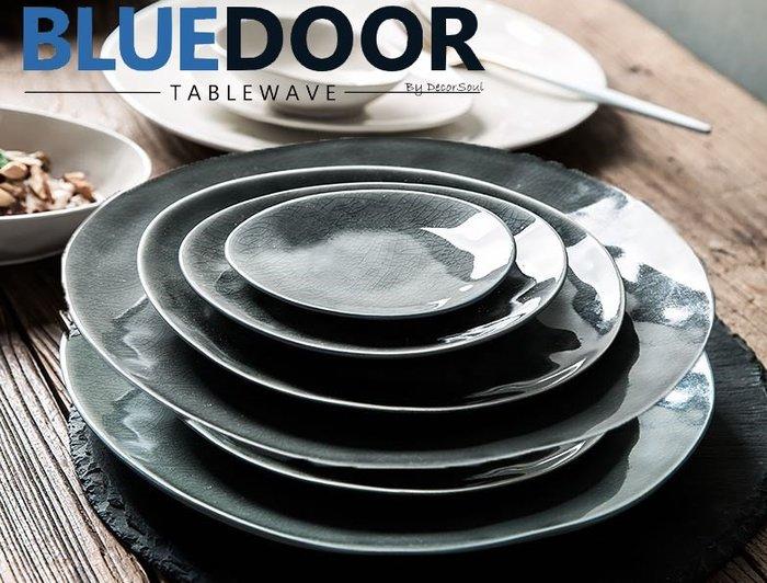 BlueD_ 冰裂釉色 水滴盤 6吋 西餐盤 水果盤 義大利麵 甜點盤 平盤 日式 小菜碟 漸層漸變 創意設計 鵝卵石