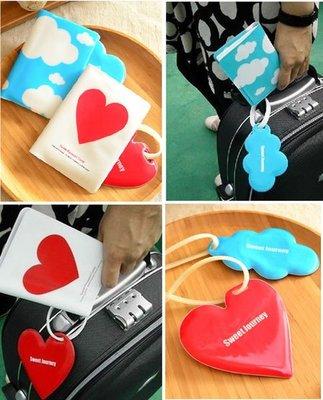 『肥仔小窩』韓國 雲朵 愛心 可愛 護照包 情侶 護照夾 行李牌 2件組 A047