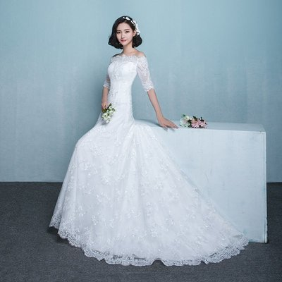 婚紗 禮服 婚紗禮服2019新款甜美一字肩修身顯瘦a擺小拖尾新娘結婚公主夢幻
