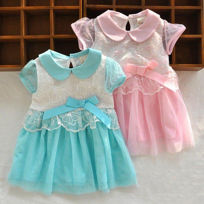 韓版《花花網紗款》甜美短袖洋裝 (J2-3)
