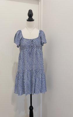 澳洲購回 RUMOR 全新吊牌未拆 藍色短褲洋裝 白色小碎花 可平口露肩款