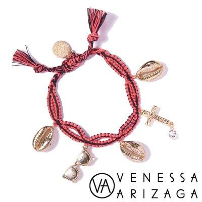 Venessa Arizaga SEAS THE DAY 粉紅手鍊 貝殼X太陽眼鏡 鑲鑽十字架手鍊 原價3680