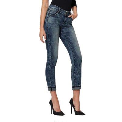 深藍色彈力磨白小磨破直筒牛仔褲女小直筒九分褲