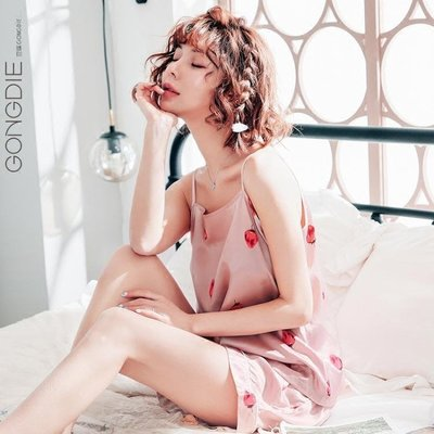 ins草莓可愛性感睡衣套裝女夏季短袖韓版絲綢吊帶睡褲兩件套
