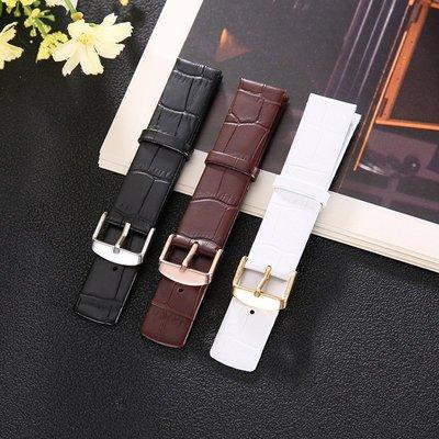 手錶配件 飾品 真皮手錶帶男女薄針扣配件代用ck天梭凱文克萊K2Y211/231皮帶錶鏈