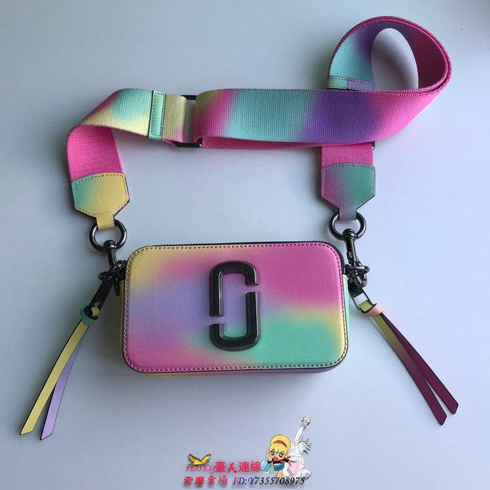 Marc jacobs/MJ女款snapshot十字紋防刮雙拉鏈相機包小方包手機包彩虹色