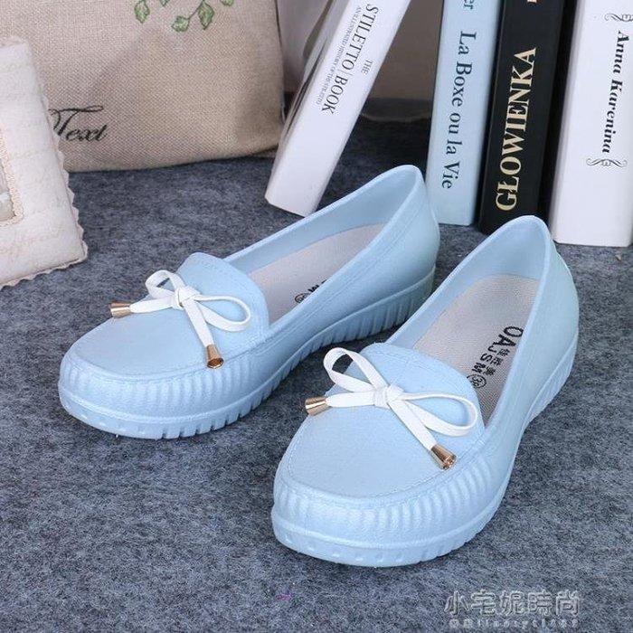 【免運】時尚果凍短靴防滑雨靴雨鞋女學生短筒豆豆鞋~『金色年華』