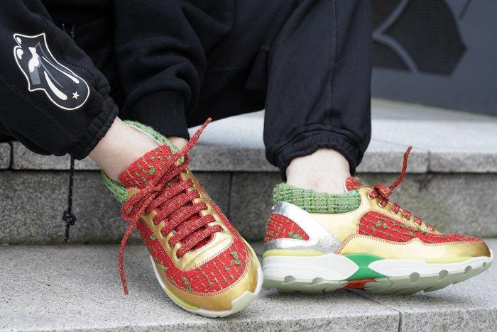 Chanel Tweed Sneakers 毛呢休閒鞋 紅 37.5 現貨