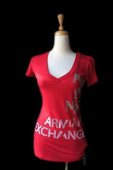 *Beauty*ARMANI EXCHANGE鉚釘字母紅色V領短袖棉T恤 原價1990元 售1200元 全新附吊牌 JW