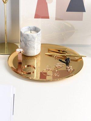 優生活~小西家 北歐風ins金色不銹鋼大圓盤金屬托盤餐盤蛋糕盤桌面收納盤