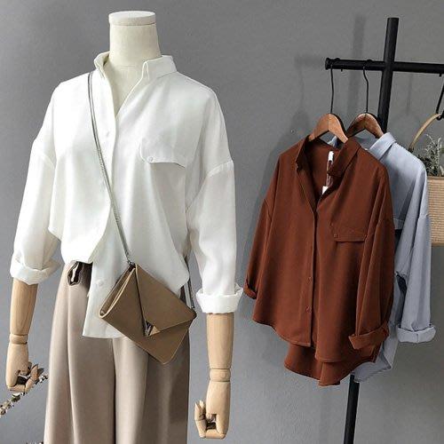 長袖襯衫 OL反折口袋長袖襯衫  艾爾莎 【TAE7456】