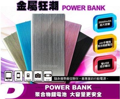 【東京數位】全新 超強超薄款 1 CM 金屬狂潮 行動電源 20000mAh 雙輸出 聚合物鋰電池