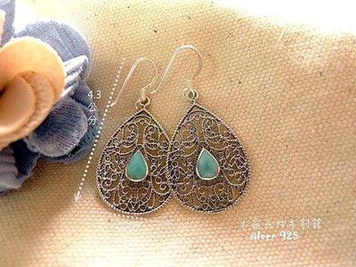 *☆~ 水晶森林手創館~*☆復古尼泊爾風純銀耳環~silver 925綠松石耳環