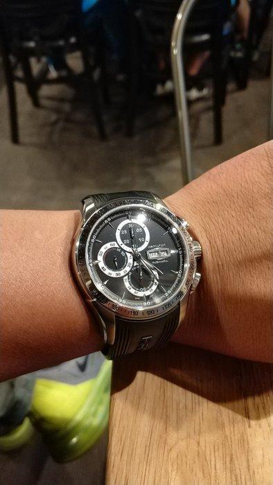 (價格比兩大購物網站便宜很多!)九成新Hamilton 漢米爾頓 JAZZMASTER 計時機械錶-46mm 矽膠錶帶!只限面交!歡迎相約專櫃驗錶!