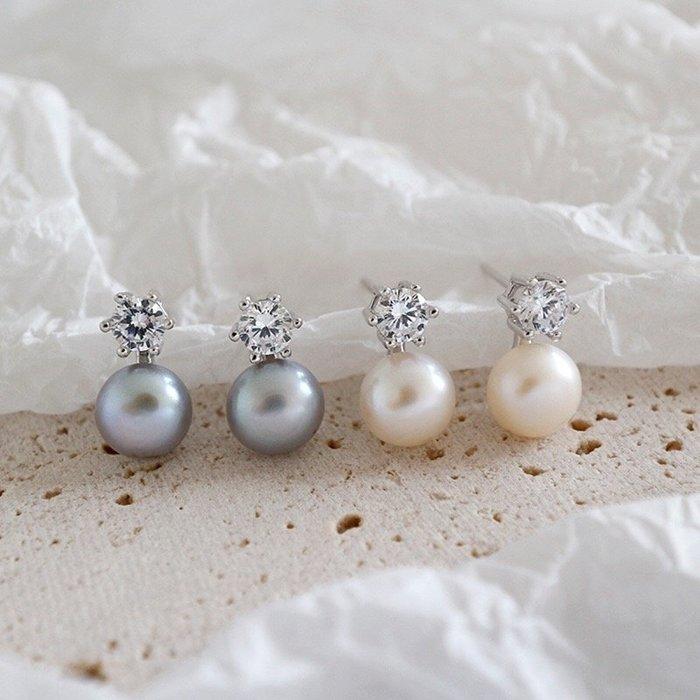 《現貨》925純銀 天然淡水珍珠鋯石耳環 耳飾 耳環 耳針 生日情人節 聖誕節 Baonizi