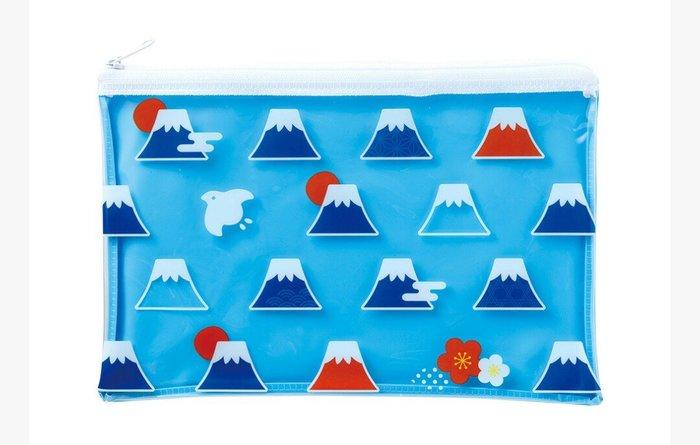天使熊雜貨小舖~富士山透明收納袋  筆袋  全新現貨