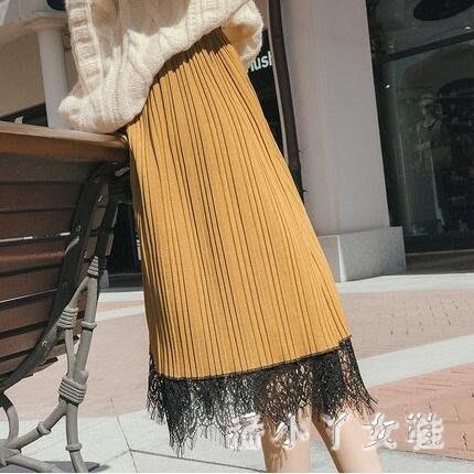 百褶裙女 新款女半身裙中長款兩面穿a字長裙拼接蕾絲裙子 潮 DN19085- -獨品飾品吧☂