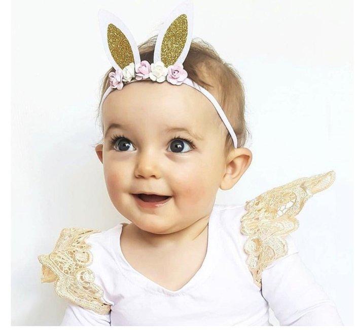 【寶寶花朵兔子髮帶】女童髮帶/兒童頭飾/表演裝飾花朵/公主髮飾/新款花童演出配飾/兔子髮帶/髮箍