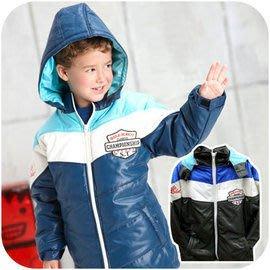 台灣製 冬季大男童 連帽鋪棉防風保暖 厚大衣外套 110~170cm 灰、藍2色 孩子王百貨專櫃童裝