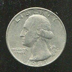 United States(美國25分硬幣),25-CENT,1981P ,品相普F